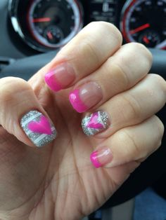 Valentines nails pink & glitter!