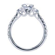 14k White Gold Diamond 3 Stones Engagement Ring   Gabriel & Co NY   ER7461W44JJ