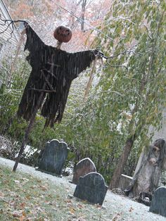 A seasonal yard display in Oakland NJ containing custom Tim Burton inspired props. Including the Headless Horseman, New England style headstones and scarecrows.