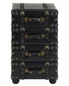 Stack of Leather Suitcases Hall Chest Cabinet - Expertly handcrafted and covered in a beautiful, superior-quality leather, This Distinctive Filing Cabinet is sure to become a converse piece in any home. Cleverly designed to resemble a stack of leather suitcases, right downward to the finest detail.