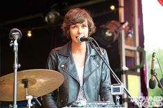 Fabienne Debarre of We Were Evergreen performs on stage during Nova Festival of Arts & Music at Bignor Park on July 2012 in Pulborough, United Kingdom. Grown Out Pixie, Grow Out, Messy Hairstyles, Art Music, Evergreen, Hair Makeup, Leather Jacket, Park, Beauty