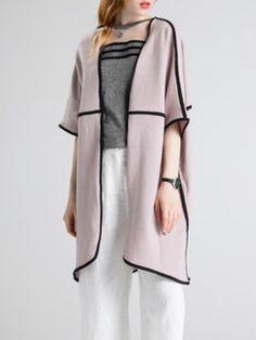 Pink Wool Blend Shift Casual Cardigan