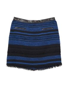 Oxygen | Rebecca Taylor Stripe Tweed Skirt with Leather