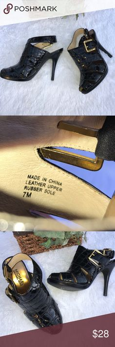 "Michael Kors peep toe leather heels Black leather peep toe stiletto heels 4"" side buckles beautiful heels excellent condition. Michael Kors Shoes Heels"