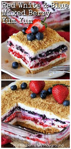 Red White & Blue Mixed Berry Yum Yum ~ Classic Yum Yum dessert gets all decked out in beautiful red white & blue to create this festive no-bake Mixed Berry Yum Yum. It's a perfect dessert for 4th of July, Memorial Day, or anytime you want to enjoy the tasty combination of strawberry and blueberry together. www.thekitchenismyplayground.com 4th Of July Desserts, Köstliche Desserts, Summer Desserts, Holiday Desserts, Holiday Recipes, Delicious Desserts, Yummy Food, Health Desserts, Health Foods