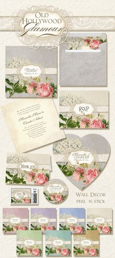 Old Hollywood Brocade and Lace with Roses and Hydrangeas.  Complete Wedding Invitations Set as well as Rehearsal Dinner, Bridal Shower and matching reception decor items - in 8 mix and match color ways.  Beautiful and inexpensive.  Order custom designs with as little as 10 invitations!