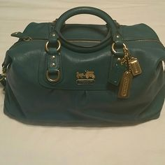 Authentic Large Coach Madison Sabrina Handbag Excellent used condition, beautiful teal blue color with gold hardware,  soft leather, comes with dust bag Coach Bags Shoulder Bags