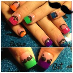 3-d Mustaches - Nail Art Gallery