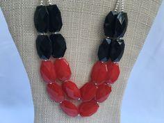 Ohio State necklace - UGA Necklace - Georgia Necklace - Red Black Necklace - NC…