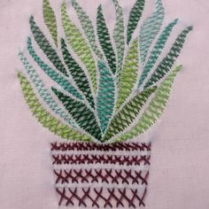 A potted plant with only herringbone stitch! Modern Embroidery, Embroidery Stitches, Hand Embroidery, Fashion Illustrations, Fashion Sketches, Herringbone Stitch, Stitch Book, Plant Art, Cactus Plants