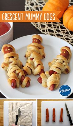 Crescent Mummy Dogs Kids aren't the only ones to dress up this Halloween! Wrap up some mummy dogs with Pillsbury crescent rolls. Ketchup and mustard eyes are the finishing touch to this kid-favorite Halloween dinner. You could even make these treats for a Comida De Halloween Ideas, Halloween Crafts For Kids, Halloween Food For Party, Halloween City, Halloween Costumes, Halloween 2020, Creepy Halloween Food, Holidays Halloween, Halloween Finger Foods