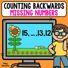 Counting backwards practice where kids look at a series and fill in the missing numbers! Number Sense Activities, Graphing Activities, Counting Activities, Kindergarten Activities, Preschool, Math Centers, Learning Centers, Learning Resources, Counting Backwards