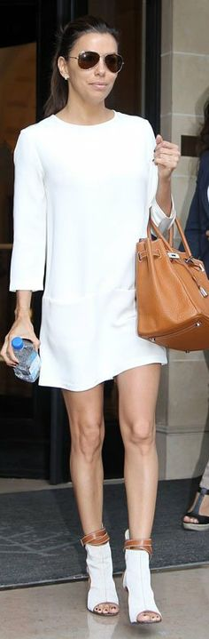 Eva Longoria. Dress - Victoria Beckham Collection. Love these shoes!