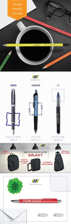 Social media visuals for stationery company Stationery Companies, Creative Design, Social Media, Social Networks, Social Media Tips