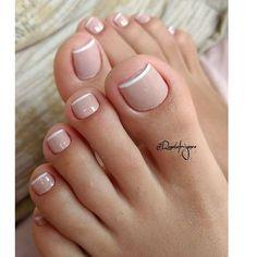 Pin by Melissa Prosper on Toe nails in 2020 Toe Nail Color, Toe Nail Art, Nail Colors, Acrylic Nails, Pretty Toe Nails, Cute Toe Nails, French Gel, French Nails, French Pedicure