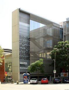 Facade sign at Biblioteca Sagrada Familia, Barcelona, Spain
