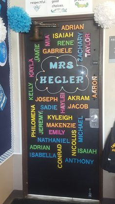 Back to School. Bulletin Board. Classroom door decoration - Painted with chalkboard paint. Kid's names used DieCut machine to print out the names,... #board #bulletin #Chalkboard #Classroom #decoration #decorations #DieCut #Door #Kid39s #machine #names #Paint #Painted #print #school