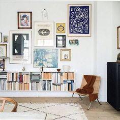 bench bookshelves, gallery wall.