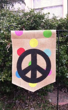 Burlap Garden Flag Peace Sign Happy Everything by ModernRusticGirl