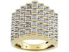 1ctw White Diamond Pyramid Ring Silver 18k yellow gold size 8 Mother's Day    http://stores.ebay.com/JEWELRY-AND-GIFTS-BY-ALICE-AND-ANN