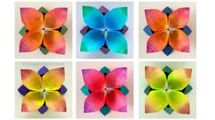 Origami tutorial and video instruction on how to make a four-petal origami flower designed by Leyla Torres. SUBTÍTULOS EN ESPAÑOL • Leyla Torres Origami Spir...