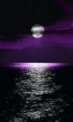 A full moon Lends its light To an aubergine world A casual hand Has swept blocks Of colour across the sky In tones Of indigo Violet Purple © Caro Ness 2016 Purple Love, All Things Purple, Purple Rain, Shades Of Purple, Purple Sunset, Ocean Sunset, Deep Purple, Lilac Sky, Purple Stuff