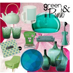 Green&Pink by luzang on Polyvore featuring interior, interiors, interior design, maison, home decor, interior decorating, Kartell, notNeutral, Pantone and Serax