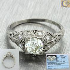 1920s Antique Art Deco Solid Platinum .96ct Old European Diamond Ring EGL