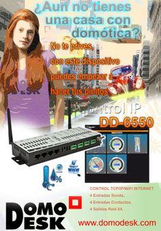Control IP http://www.domodesk.com/control-tcp-ip-wifi-internet-4-entradas-i2c-4-entradas-contacto-4-salidas-rele