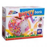 Paint and decorate your own piggy bank with the Grafix Make Your Own Piggy Bank set. Includes piggy bank, 6 pots of paint & paint brush. Create your very own cool designs! Suitable for 3 years +  www.kidswoodentoyshop.co.uk