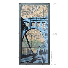 Clemente Bridge, Pittsburgh, PA Large Framed Silkscreen Print in Handcrafted Welded Frame. This is a framed silkscreen print of Baltimore Maryland. This 24x48 inch print on masonite is part of a limited edition run of 30 and was signed in May 25th, 2016. Art comes framed in a handcrafted welded steel frame, unique to fit the uniqueness of the print. All hanging hardware is included so your new art will be ready to be displayed as soon as it comes to your door! Please check out my…