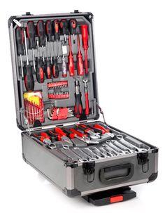 Masse verktøy på liten plass. Utrolig enkelt å ta med seg da du bare kan trille den etter deg.   Hele 127 deler. Nå har du plass til verktøyet ditt. Denne kofferten tar ikke veldig mye plass. I tillegg vet du alltid hvor du finner det verktøyet du trenger.