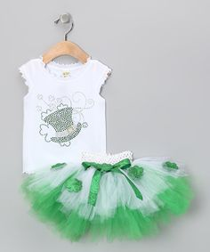 This Green & White Sparkle Top & Tutu - Infant, Toddler & Girls by Brookie Jos is perfect! #zulilyfinds