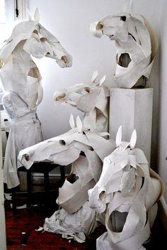 paper horse sculptures