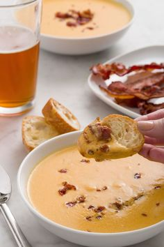 Basically an excuse for lovers of cheddar cheese everywhere to essentially drink melty cheese. (Winning.) Beer and smoky bacon add depth. Get the recipe from Delish.   - Delish.com