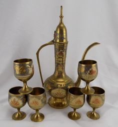 Vintage Etched Brass & Enamel Coffee Tea Set Pot Cups India/Pakistan