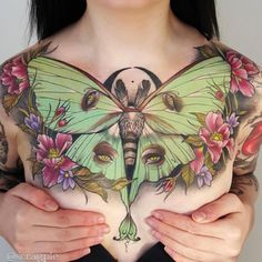 Four-Eyed Moth Chest Piece by Sam Smith - TATTOOBLEND