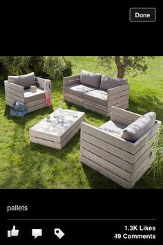 Wood pallet furniture love structural element. Paint in ecru stain.