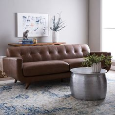 Beatnik Leather Sofa Columbus Chocolate | Overstock.com Shopping - The Best Deals on Sofas & Loveseats