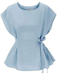 Tanming Women's O Neck Cap Sleeve Waist Tie T-Shirts Tops Blouses (Medium, Light Blue) Black Dress With Sleeves, Dresses With Sleeves, Tie Waist Top, Tied T Shirt, Wedding Shirts, Built In Wardrobe, How To Look Classy, Shirt Blouses, Cap Sleeves