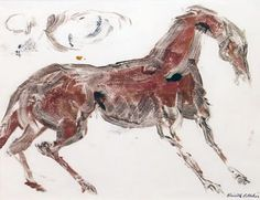 Horse * Oil on Paper * Kenneth Callahan c. Moose Art, Horses, Oil, Paper, Animals, Drawings, Animales, Animaux, Animal