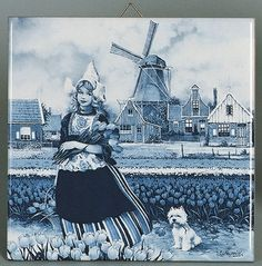 """A unique gift for someone with European roots. This charming quality decorative magnetic tile features the scene of the """"Tulip Girl"""" - Approximate Dimensions (Length x Width x Height): 3x3x0.25"""" - Mat"""