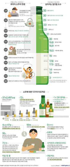 이슬과 땀의 술, 소주 한잔 하실래요? - 조선닷컴 인포그래픽스 - 인터랙티브 > 라이프 Information Design, Travel Information, Common Sence, Alcholic Drinks, Leaflet Design, Korean Language, Science And Nature, Drinking Tea, Bartender