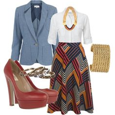 Printed midi skirt. White button up. Platforms. Chambray blazer.