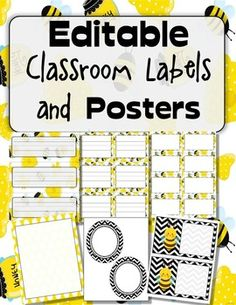 Organize your classroom this end of year with these black and yellow, honey bee… Classroom Labels, Classroom Design, School Classroom, Classroom Themes, Classroom Organization, Preschool Themes, Bee Activities, Bee Theme, Beginning Of School