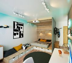 This cool kids room by IK-architects is making very good use of the limited space. More ideas for small rooms to be found in the article. #kidsroom #smallroomdesign #homify