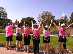 On August 24-26 2012 I walked in the Susan G. Komen Breast Cancer 3-Day and it was AMAZING! I was in a ton of pain for a day and a half, but it was worth every step. My team and I walked 60 miles had blisters, shin splints, knee injuries, foot pains, blood, sweat, and tears. The experience was incredible and I will be helping out the cause for as long as I can, not walking, but I will definitely be on the crew. This is a picture of my team and I at the MN state capital finish line.