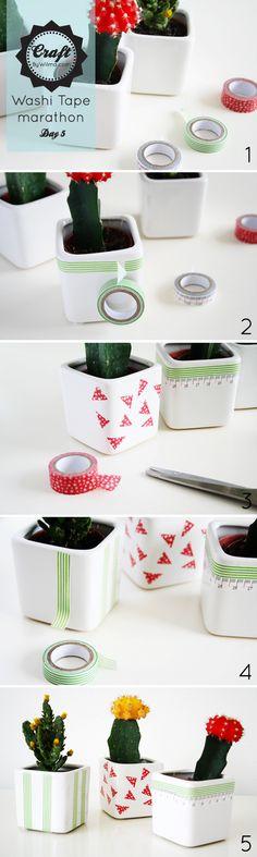 maceteros reciclados o reinventados!!  Washi tape marathon day 5: DIY cute planters