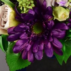 Shop over 100 beautiful artificial flower arrangements. Artificial Orchids, Artificial Flower Arrangements, Gerbera, Purple, Plants, Handmade, Beautiful, Fake Flower Arrangements, Artificial Floral Arrangements