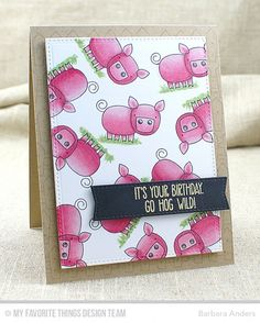 [url=http://www.mftstamps.com]My Favorite Things[/url] For details, see My Blog: [url=http://barspaperpursuits.blogspot.com/2016/02/its-your-birthday-go-hog-wild-ctd-381.html]Paper Pursuits[/url] [url=http://www.splitcoaststampers.com/gallery/showgallery.php?cat=500&ppuser=177243]My Gallery[/url] Thanks for looking!  ~Supplies~ Stamps: Farm-tastic (MFT) Ink: Black Licorice hybrid ink, Versamark (MFT) Paper: Kraft card stock, Black Licorice card stock (MFT); Neenah Classic Crest Cover, Solar…